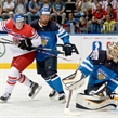MINSK, BELARUS - MAY 24: Czech Republic's Tomas Hertl #48 battles with Finland's Jere Karalahti #10 in front of Finland's Pekka Rinne #35 during semifinal round action at the 2014 IIHF Ice Hockey World Championship. (Photo by Richard Wolowicz/HHOF-IIHF Images)
